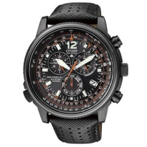 CITIZEN ECO DRIVE(AS4025-08)RADIO CONTROLLED PILOT BLACK CHRONO